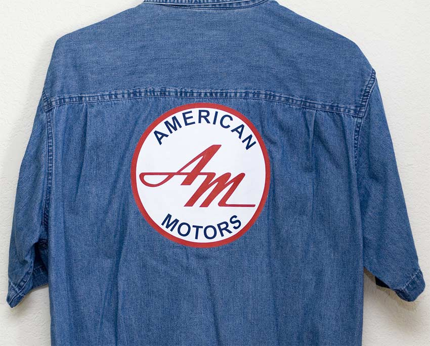 blue Denim shirt with large AMC logo
