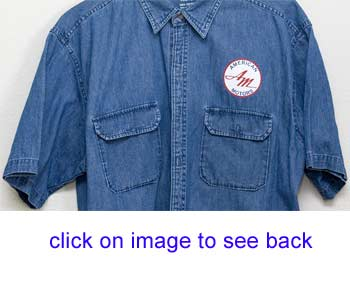 blue denim shirt with AMC logo